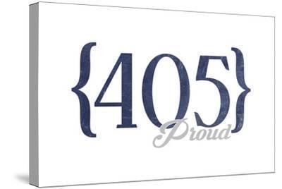 Oklahoma City, Oklahoma - 405 Area Code (Blue)-Lantern Press-Stretched Canvas Print