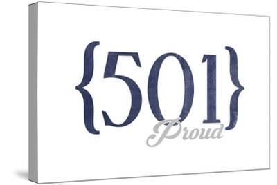 Little Rock, Arkansas - 501 Area Code (Blue)-Lantern Press-Stretched Canvas Print