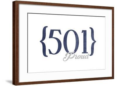 Little Rock, Arkansas - 501 Area Code (Blue)-Lantern Press-Framed Art Print
