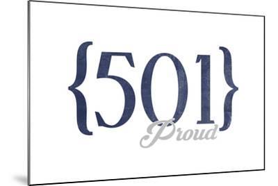 Little Rock, Arkansas - 501 Area Code (Blue)-Lantern Press-Mounted Art Print
