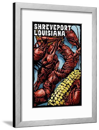 Shreveport, Louisiana - Crawfish - Scratchboard-Lantern Press-Framed Art Print