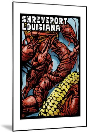 Shreveport, Louisiana - Crawfish - Scratchboard-Lantern Press-Mounted Art Print