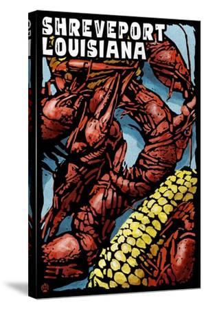 Shreveport, Louisiana - Crawfish - Scratchboard-Lantern Press-Stretched Canvas Print