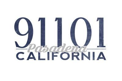 Pasadena, California - 91101 Zip Code (Blue)-Lantern Press-Framed Art Print