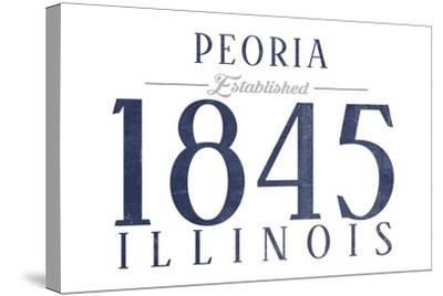 Peoria, Illinois - Established Date (Blue)-Lantern Press-Stretched Canvas Print