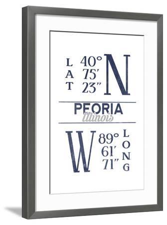 Peoria, Illinois - Latitude and Longitude (Blue)-Lantern Press-Framed Art Print