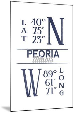 Peoria, Illinois - Latitude and Longitude (Blue)-Lantern Press-Mounted Art Print