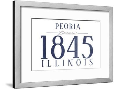Peoria, Illinois - Established Date (Blue)-Lantern Press-Framed Art Print