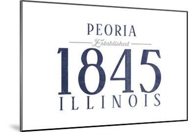Peoria, Illinois - Established Date (Blue)-Lantern Press-Mounted Art Print