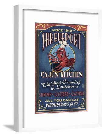 Shreveport, Louisiana - Cajun Kitchen Crawfish Vintage Sign-Lantern Press-Framed Art Print