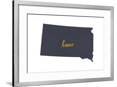 South Dakota - Home State - Gray on White-Lantern Press-Framed Art Print