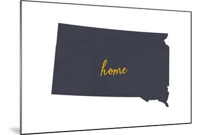 South Dakota - Home State - Gray on White-Lantern Press-Mounted Art Print