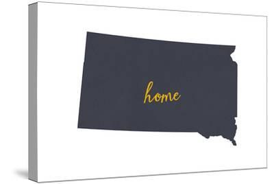 South Dakota - Home State - Gray on White-Lantern Press-Stretched Canvas Print
