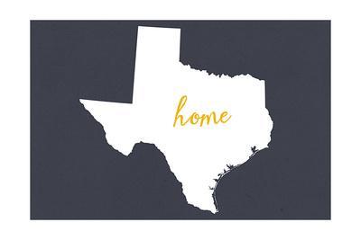 Texas - Home State - White on Gray-Lantern Press-Framed Art Print