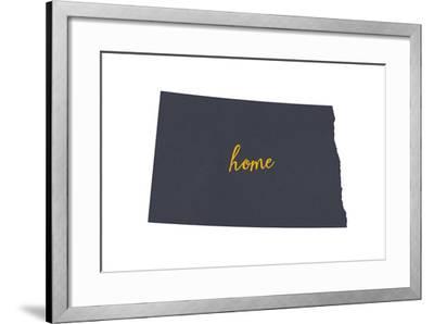 North Dakota - Home State - Gray on White-Lantern Press-Framed Art Print