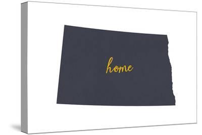 North Dakota - Home State - Gray on White-Lantern Press-Stretched Canvas Print