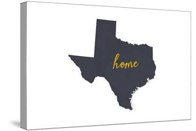 Texas - Home State - Gray on White-Lantern Press-Stretched Canvas Print