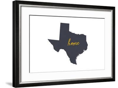 Texas - Home State - Gray on White-Lantern Press-Framed Art Print