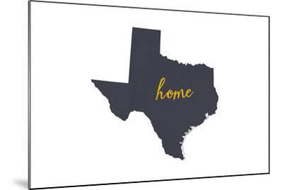 Texas - Home State - Gray on White-Lantern Press-Mounted Art Print