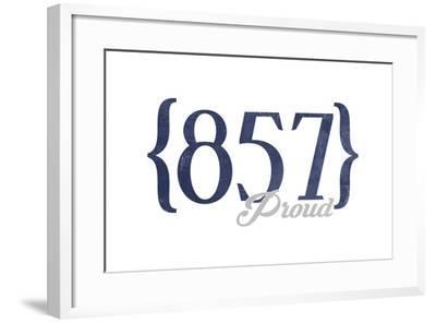 Cambridge, Massachusetts - 857 Area Code (Blue)-Lantern Press-Framed Art Print