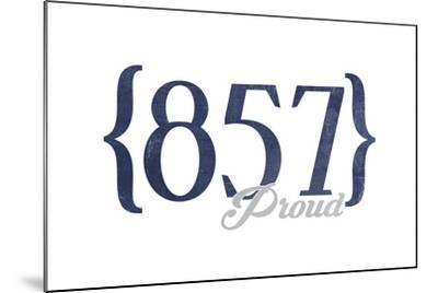 Cambridge, Massachusetts - 857 Area Code (Blue)-Lantern Press-Mounted Art Print