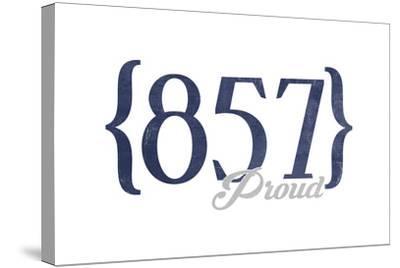 Cambridge, Massachusetts - 857 Area Code (Blue)-Lantern Press-Stretched Canvas Print