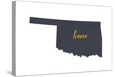 Oklahoma - Home State - Gray on White-Lantern Press-Stretched Canvas Print