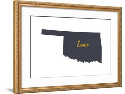 Oklahoma - Home State - Gray on White-Lantern Press-Framed Art Print