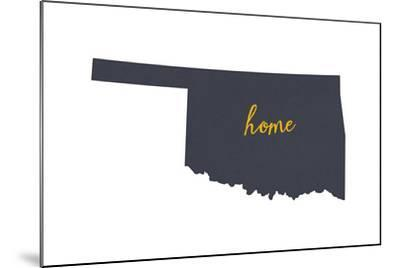 Oklahoma - Home State - Gray on White-Lantern Press-Mounted Art Print