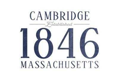 Cambridge, Massachusetts - Established Date (Blue)-Lantern Press-Framed Art Print
