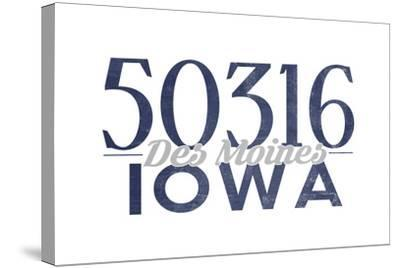 Des Moines, Iowa - 50316 Zip Code (Blue)-Lantern Press-Stretched Canvas Print