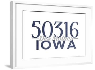 Des Moines, Iowa - 50316 Zip Code (Blue)-Lantern Press-Framed Art Print
