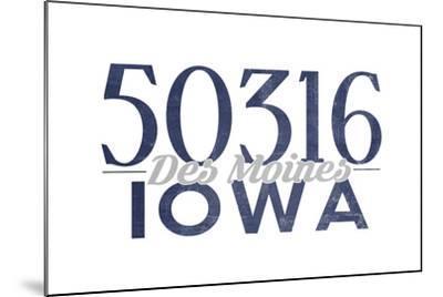 Des Moines, Iowa - 50316 Zip Code (Blue)-Lantern Press-Mounted Art Print