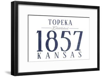 Topeka, Kansas - Established Date (Blue)-Lantern Press-Framed Art Print