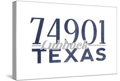 Lubbock, Texas - 74901 Zip Code (Blue)-Lantern Press-Stretched Canvas Print