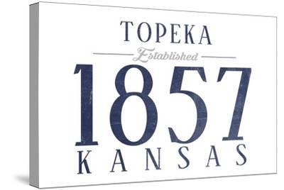 Topeka, Kansas - Established Date (Blue)-Lantern Press-Stretched Canvas Print