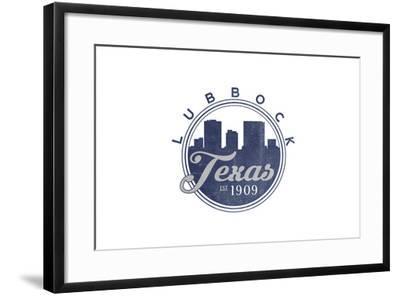 Lubbock, Texas - Skyline Seal (Blue)-Lantern Press-Framed Art Print