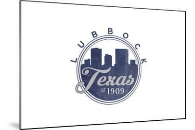 Lubbock, Texas - Skyline Seal (Blue)-Lantern Press-Mounted Art Print