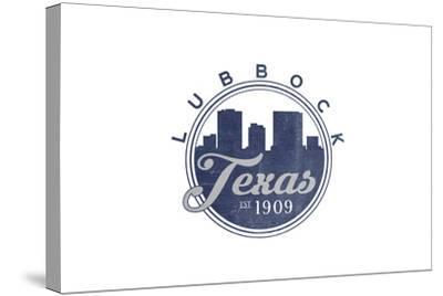 Lubbock, Texas - Skyline Seal (Blue)-Lantern Press-Stretched Canvas Print