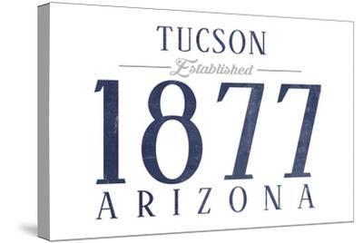 Tucson, Arizona - Established Date (Blue)-Lantern Press-Stretched Canvas Print