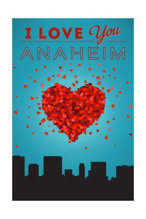 I Love You Anaheim, California-Lantern Press-Framed Art Print
