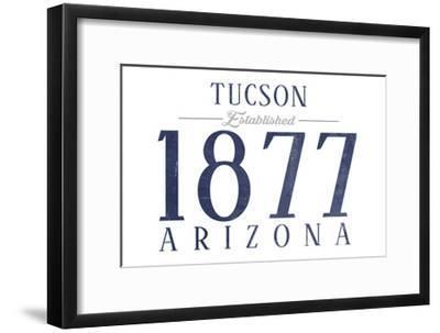 Tucson, Arizona - Established Date (Blue)-Lantern Press-Framed Art Print