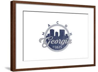 Macon, Georgia - Skyline Seal (Blue)-Lantern Press-Framed Art Print