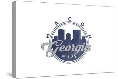 Macon, Georgia - Skyline Seal (Blue)-Lantern Press-Stretched Canvas Print