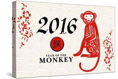 Year of the Monkey - 2016 - Horizontal Pattern-Lantern Press-Stretched Canvas Print