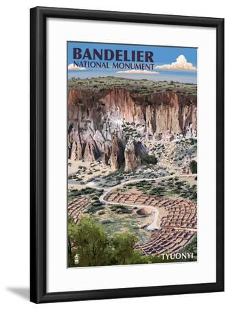 Bandelier National Monument, New Mexico - Tyuonyi Aerial View-Lantern Press-Framed Art Print