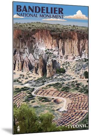 Bandelier National Monument, New Mexico - Tyuonyi Aerial View-Lantern Press-Mounted Art Print
