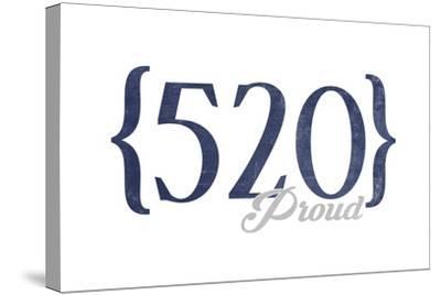 Tucson, Arizona - 520 Area Code (Blue)-Lantern Press-Stretched Canvas Print
