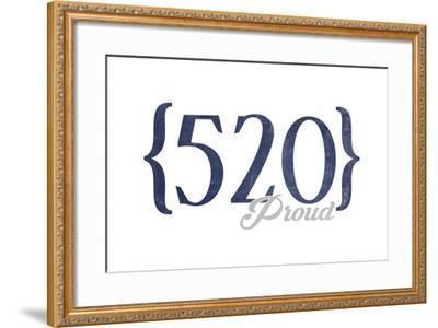 Tucson, Arizona - 520 Area Code (Blue)-Lantern Press-Framed Art Print