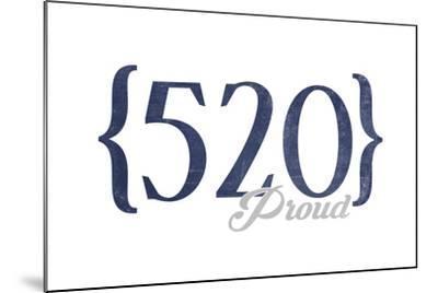 Tucson, Arizona - 520 Area Code (Blue)-Lantern Press-Mounted Art Print